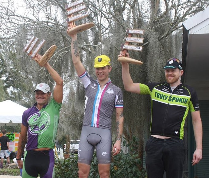 Rob Sudan brings home the win for Rouler Racing and the Semi-Tough Cycling Club
