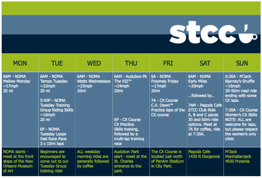 STCC Fall Ride Calendar