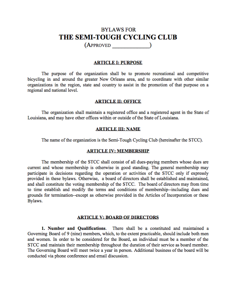 semi tough cycling club bylaws semi tough cycling club