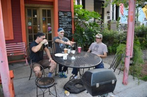 The guys discuss their injuries over coffee before the group arrives